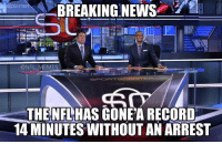 Meme, Memes, and News: BREAKING NEWS  @NFL MEMES  SPORTS E TE  Y COL  THENFLHAS GONEA RECORD  14 MINUTES WITHOUT AN ARREST