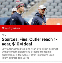 Espn, Jay, and Memes: Breaking News  NFL  Sources: Fins, Cutler reach 1-  year, $10M deal  Jay Cutler agreed to a one-year, $10 million contract  with the Miami Dolphins to become the team's  quarterback in the wake of Ryan Tannehill's knee  injury, sources told ESPN. OMG! I can't wait for @espnfirsttake tomorrow morning. Lord I can't wait.