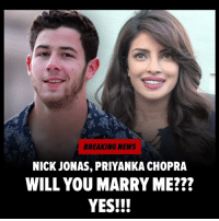 Kevin's married, Joe's engaged and NickJonas is keeping up with the Jonas' because he just popped the question to PriyankaChopra 💍! Congrats 🥂to these two lovebirds!! tmz engaged jonasbrothers: BREAKING NEWS  NICK JONAS, PRIYANKA CHOPRA  WILL YOU MARRY ME???  YES!!! Kevin's married, Joe's engaged and NickJonas is keeping up with the Jonas' because he just popped the question to PriyankaChopra 💍! Congrats 🥂to these two lovebirds!! tmz engaged jonasbrothers