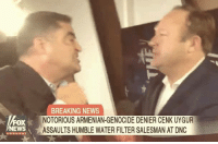 Love, Memes, and News: BREAKING NEWS  NOTORIOUS ARMENIAN-GENOCIDE DENIER CENK UYGUR  ASSAULTS HUMBLE WATER FILTER SALESMAN AT DNC  oX  EWS Do we love Alex or what? Sent by Phillip, a supporter.