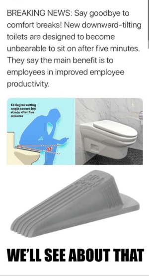 A 2ds also works: BREAKING NEWS: Say goodbye to  comfort breaks! New downward-tilting  toilets are designed to become  unbearable to sit on after five minutes.  They say the main benefit is to  employees in improved employee  productivity.  13-degree sitting  angle causes leg  strain after five  minutes  13°  WE'LL SEE ABOUT THAT A 2ds also works