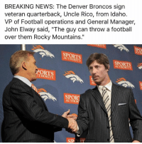 "Oh shit it looks like Denver is going back to back now!!! broncos denver denverbroncos: BREAKING NEWS: The Denver Broncos sign  veteran quarterback, Uncle Rico, from Idaho.  VP of Football operations and General Manager,  John Elway said, ""The guy can throw a football  over them Rocky Mountains""  over them Rocky Mountains.""  SPORTS  AUTHORITY  SPORTS  AUTHORITY  PORTS  UTHORITY  SPOR  AUTHO  SPORT Oh shit it looks like Denver is going back to back now!!! broncos denver denverbroncos"