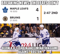 Memes, News, and Boston: BREAKING NEWS THE LEAFS DON'T  MAPLE LEAFS  4  16 SOG  LEAFS  2:47 2ND  BRUINS  21 SOG  BLOW A4S1LEADINANELIMINATIONGAME  AGAINST BOSTON The memes would have been real if Boston came back, oh well