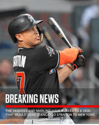 """Repost: @SportsCenter-""""According to sources, the Yankees and Marlins have agreed to a deal that would send slugger Giancarlo Stanton to New York, pending a physical."""" ⚾️😳 WSHH: BREAKING NEWS  THE YANKEES AND MARLINS HAVE AGREED TO A DEAL  THAT WOULD SEND GIANCARL  O STANTON TO NEW YORK. Repost: @SportsCenter-""""According to sources, the Yankees and Marlins have agreed to a deal that would send slugger Giancarlo Stanton to New York, pending a physical."""" ⚾️😳 WSHH"""