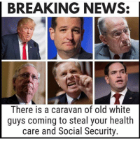 Memes, News, and Breaking News: BREAKING NEWS:  There is a caravan of old white  guys coming to steal your health  care and Social Security. 25 Hilarious Midterm Election Memes: http://bit.ly/2EMRHoK