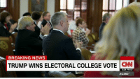 "College, Memes, and Breaking News: BREAKING NEWS  TRUMP WINS ELECTORAL COLLEGE VOTE  CNN  8:34 PM ET  AC360° A rogue elector failed to inspire a movement against Donald J. Trump. He said it was worth it. ""I cast a ballot based on my principles and values. You never go wrong when you are doing that."""