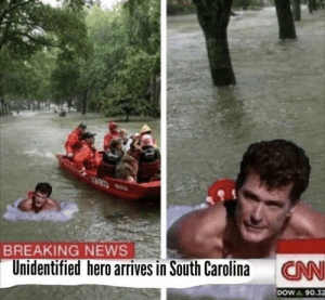 News, Breaking News, and Irl: BREAKING NEWS  Unidentified hero arrives in South Carolina  CN  DOW 90.32 me_irl