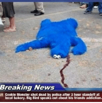 cookie monster: Breaking News  WE Cookie Monster shot dead by police after 3 hour standoff at  local bakery. Big Bird speaks out about his friends addiction.