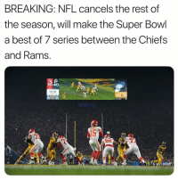 Nfl, Sports, and Super Bowl: BREAKING: NFL cancels the rest of  the season, will make the Super Bowl  a best of 7 series between the Chiefs  and Rams.  30 40  13:31  10  40 Not not down. .(@funniestnflmemes )