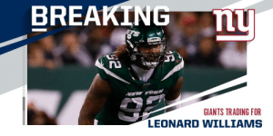 Jets trade DL Leonard Williams to Giants for a 2020 3rd round pick and future 5th rounder. (via @RapSheet) https://t.co/UYRzjwjb9q: BREAKING  nu  VEW YOK  GIANTS TRADING FOR  LEONARD WILLIAMS Jets trade DL Leonard Williams to Giants for a 2020 3rd round pick and future 5th rounder. (via @RapSheet) https://t.co/UYRzjwjb9q