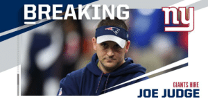 OFFICIAL: @Giants hire former Patriots WR and ST coach Joe Judge as new head coach. https://t.co/y3fU7KYCjz: BREAKING  ny  GIANTS HIRE  JOE JUDGE OFFICIAL: @Giants hire former Patriots WR and ST coach Joe Judge as new head coach. https://t.co/y3fU7KYCjz