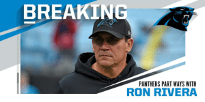 Panthers part ways with head coach Ron Rivera. https://t.co/lJrqy60DTE: BREAKING  PANTHERS PART WAYS WITH  RON RIVERA Panthers part ways with head coach Ron Rivera. https://t.co/lJrqy60DTE