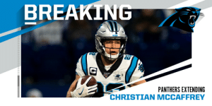 BREAKING: Panthers signing RB Christian McCaffrey to four-year, $64M extension. (via @RapSheet) https://t.co/BHqfVT8oS8: BREAKING: Panthers signing RB Christian McCaffrey to four-year, $64M extension. (via @RapSheet) https://t.co/BHqfVT8oS8