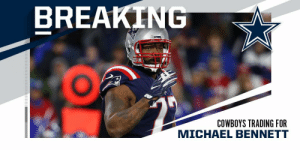 BREAKING: @dallascowboys trading for @Patriots DE Michael Bennett in exchange for a conditional seventh-round pick in 2021. (via @RapSheet) https://t.co/uTtqjhR5X3: BREAKING  PATS  COWBOYS TRADING FOR  MICHAEL BENNETT BREAKING: @dallascowboys trading for @Patriots DE Michael Bennett in exchange for a conditional seventh-round pick in 2021. (via @RapSheet) https://t.co/uTtqjhR5X3
