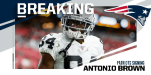 WR Antonio Brown agrees to a one-year deal with Patriots worth up to $15M. (via @RapSheet) https://t.co/SD26uMJFOs: BREAKING  RAIDERS  $4  PATRIOTS SIGNING WR Antonio Brown agrees to a one-year deal with Patriots worth up to $15M. (via @RapSheet) https://t.co/SD26uMJFOs