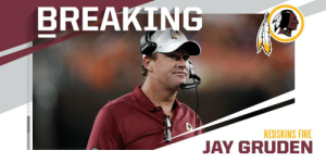 .@Redskins fire head coach Jay Gruden. (via @RapSheet) https://t.co/Aca5d6tOri: BREAKING  REDSKINS FIRE  JAY GRU .@Redskins fire head coach Jay Gruden. (via @RapSheet) https://t.co/Aca5d6tOri