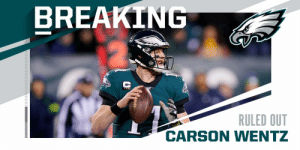 Eagles QB Carson Wentz ruled out for remainder of #SEAvsPHI. https://t.co/aONGOkPp1g: BREAKING  RULED OUT  CARSON WENTZ Eagles QB Carson Wentz ruled out for remainder of #SEAvsPHI. https://t.co/aONGOkPp1g