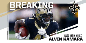 Saints RB Alvin Kamara (knee/ankle) ruled out in Week 7. https://t.co/KPG7pA7L7Q: BREAKING  RULED OUT IN WEEK 7  ALVIN KAMARA Saints RB Alvin Kamara (knee/ankle) ruled out in Week 7. https://t.co/KPG7pA7L7Q