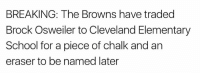 Brock Osweiler: BREAKING: The Browns have traded  Brock Osweiler to Cleveland Elementary  School for a piece of chalk and an  eraser to be named later