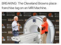 Well done Cleveland Browns: BREAKING: The Cleveland Browns place  franchise tag on an MRI Machine.  Cleveland Clinic  Cleveland Clinic  855.411 DAWG  855.411 DAWG  855.411  and Clinic  CLEVELAND  BROWNS  M  d Clinic  BRO  and Clinic  Dl Clevela  855.411  855.411  Clini  and Clinic  BROWN  Clevel  855,411  855.411 Well done Cleveland Browns