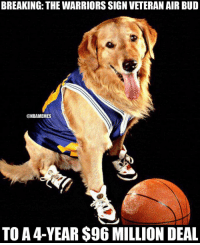 They are about to go 82-0😳 nbamemes nba warriors: BREAKING: THE WARRIORS SIGN VETERAN AIR BUD  @NBAMEMES  TO A 4-YEAR $96 MILLION DEAL They are about to go 82-0😳 nbamemes nba warriors