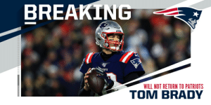 BREAKING: Tom Brady announces he will not return to Patriots. https://t.co/TX8zWhD4gS: BREAKING: Tom Brady announces he will not return to Patriots. https://t.co/TX8zWhD4gS