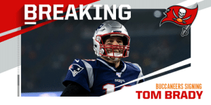 BREAKING: Tom Brady has an agreement in principle to join the Buccaneers. The deal is roughly $30M per year. (via @Rapsheet) https://t.co/sW217u2PvF: BREAKING: Tom Brady has an agreement in principle to join the Buccaneers. The deal is roughly $30M per year. (via @Rapsheet) https://t.co/sW217u2PvF