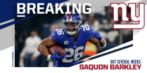 The Giants expect to be without RB Saquon Barkley (ankle) for next several weeks. (via @RapSheet) https://t.co/ss2jbSqStr: BREAKING u  OUT SEVERAL WEEKS  SAQU The Giants expect to be without RB Saquon Barkley (ankle) for next several weeks. (via @RapSheet) https://t.co/ss2jbSqStr