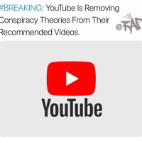 "9/11, Memes, and Videos:  #BREAKING  : YouTube Is Removing  Conspiracy Theories From Their  Recommended Videos.  YouTube YouTube is planning to remove conspiracy theories and misinformation videos out of their recommended videos lists. The plan is to stop misleading videos from popping up on the viewers screen by switching their algorithm.⁣ -⁣ According to YouTube, this change will only apply to 1% of the videos on the platform for now, most of them being English-language videos.⁣ -⁣ The videos will still be available on YouTube but they just won't be recommended by the site.⁣ ⁣ ""We'll begin reducing recommendations of borderline content and content that could misinform users in harmful ways—such as videos promoting a phony miracle cure for a serious illness, claiming the earth is flat or making blatantly false claims about historic events like 9-11,""⁣ -⁣ RapTVSTAFF: @thatkidcm⁣"