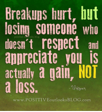 Respect, Appreciate, and Blog: Breakups hurt, but  losing someone who  doesn't respect ant  appreciate you is  actually a gain, NOT  a loss.  www.POSITIVEoutlooks BLOG com Hit Like or Share - www.dodinsky.com/gift-book - IN THE GARDEN OF THOUGHTS (NY Times bestseller) is available at all major bookstores.