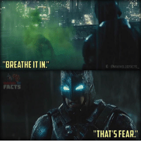 "Batman, Facts, and Memes: ""BREATHE ITIN""  FACTS  IGIGMARVELDCFACTS  ""THAT'S FEAR. Even though I am teamsuperman I have to admit that this entire scene was so well done. No matter what you think about the movie, you must admit that this scene was absolutely amazing. Affleck's Batman really boosted the epicness of this scene and the entire movie. It was the first time that we've ever seen the DC Trinity in a live-action movie, the first time we've seen Batman fight Superman in a live-action movie, and it leads into the first live-action Justice League movie as well as Wonder Woman. I really don't care what the haters think about this movie or Rotten Tomatoes. This movie is revolutionary.🙌🏼👏🏼 - I have another scene from Batman V Superman coming up sometime today.👍🏼 - batmanvsuperman batmanvssuperman batman superman wonderwoman justiceleague zacksnyder warnerbros dc dccomics dcuniverse dcextendeduniverse dcentertainment dctvuniverse detectivecomics dcu dceu dctv marveldcfacts_"
