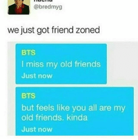 Bts, Friend Zone, and Now What: @bredmyg  we just got friend zoned  BTS  I miss my old friends  Just now  BTS  but feels like you all are my  old friends. kinda  Just now WHAT IS THSI HDNFOND