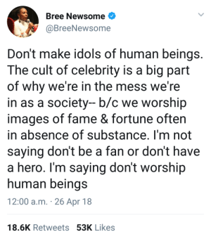 idols: Bree Newsome  @BreeNewsome  Don't make idols of human beings  The cult of celebrity is a big part  of why we're in the mess we're  in as a society-b/c we worship  images of fame & fortune often  in absence of substance. I'm not  saying don't be a fan or don't have  a hero. I'm saying don't worship  human beings  12:00 a.m. 26 Apr 18  18.6K Retweets 53K Likes