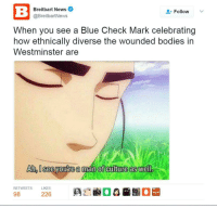 "Bodies , Meme, and News: Breitbart News  @BreitbartNews  Follow  When you see a Blue Check Mark celebrating  how ethnically diverse the wounded bodies in  Westminster are  Ah,Oseeyoutre a man of culture as well  RETWEETS  LIKES  98 <p>BREITBART POSTED A SHITTY MAN OF CULTURE MEME! CRASH IMMINENT! SELL SELL SELL! via /r/MemeEconomy <a href=""http://ift.tt/2obh1Ic"">http://ift.tt/2obh1Ic</a></p>"