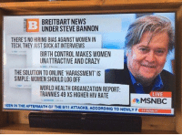 """9/11, Memes, and Tranny: BREITBART NEWS  UNDER STEVE BANNON  THERE'S NO HIRING BIAS AGAINST WOMEN IN  TECH, THEY JUST SUCK AT INTERVIEWS  BIRTH CONTROL MAKES WOMEN  UNATTRACTIVE AND CRAZY  THE SOLUTION TO ONLINE HARASSMENT"""" IS  SIMPLE: WOMEN SHOULD LOG OFF  WORLD HEALTH ORGANIZATION REPORT:  TRANNIES 49XS HIGHER HIV RATE  LIVE  MSNBC  SEEN IN THE AFTERMATH OF THE 9/11 ATTACKS, ACCORDING TO NEWLY F  PT  11:02AM Trump's new white supremacist chief policy advisor is terrifying. Here are some headlines from his bigoted website:"""