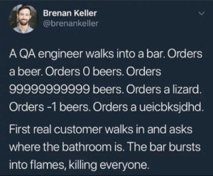 Programming in a nutshell: Brenan Keller  @brenankeller  A QA engineer walks into a bar. Orders  a beer. Orders 0 beers. Orders  99999999999 beers. Orders a lizard.  Orders -1 beers. Orders a ueicbksjdhd.  First real customer walks in and asks  where the bathroom is. The bar bursts  into flames, killing everyone. Programming in a nutshell