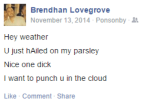 meladoodle:  this is my favourite poem: Brendhan Lovegrove  November 13, 2014 Ponsonby-  Hey weather  U just hAiled on my parsley  Nice one dick  I want to punch u in the cloud  Like Comment- Share meladoodle:  this is my favourite poem