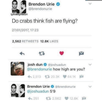"How High, Memes, and Fish: Brendon Urie  @brendonurie  Do crabs think fish are flying?  27/01/2017, 17:23  2,562 RETWEETS 12.8K LIKES  17  Josh dun @joshuadun  @brendonurie how high are you?  2,513 20.3K 64.1K  Brendon Urie ¢ @brendonurie  @joshuadun 5'9  25 2,562 12.8K <p>MamaCita via /r/memes <a href=""http://ift.tt/2eFxvpb"">http://ift.tt/2eFxvpb</a></p>"