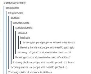 """Stuff, Who, and Brick: brendonboydlikeurie  mintvlavored  livefast  groovieghoulie  socialusticeal  notkorra  hashgag:  