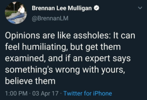 meirl: Brennan Lee Mulligan  @BrennanLM  Opinions are like assholes: It can  feel humiliating, but get them  examined, and if an expert says  something's wrong with yours,  believe them  1:00 PM 03 Apr 17 Twitter for iPhone meirl