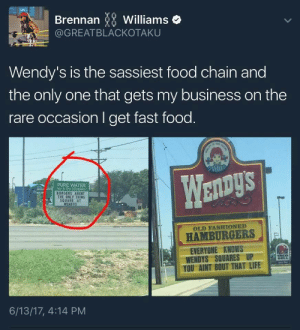 Fast Food, Food, and Life: Brennan Williams  @GREATBLACKOTAKU  Wendy's is the sassiest food chain and  the only one that gets my business on the  rare occasion I get fast food  PURE WATER  BURGERS ARENT  THE OY THNG  y1.ce  SQUARE AT  OLD FASHIONED  HAMBURGERS  EVERYONE KNOWS  WENDYS SQUARES UP  YOU AINT BOUT THAT LIFE  6/13/17, 4:14 PM Wendys On Some Next Level Shit