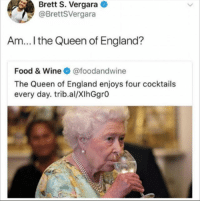 More like Princess of Genovia: Brett S. Vergara  @BrettSVergara  Am... I the Queen of England?  Food & Wine @foodandwine  The Queen of England enjoys four cocktails  every day. trib.al/XIhGgrO More like Princess of Genovia