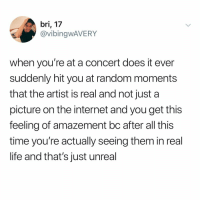 Internet, Life, and Memes: bri, 17  @vibingwAVERY  when you're at a concert does it ever  suddenly hit you at random moments  that the artist is real and not just a  picture on the internet and you get this  feeling of amazement bc after all this  time you're actually seeing them in real  life and that's just unreal No