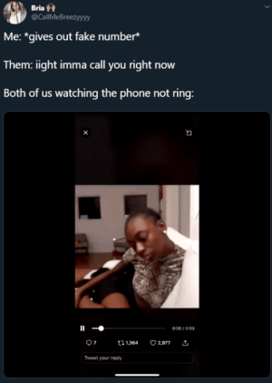 "mountainmemes:  ""Oh I must not have service"": Bria  @CallMeBreezyyyy  Me: *gives out fake number*  Them: iight imma call you right now  Both of us watching the phone not ring:  0:00/0:03  7  2,977  t1,364  Tweet your reply mountainmemes:  ""Oh I must not have service"""