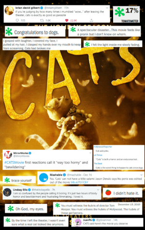 "kawaiitriot:  Been awhile since I made one of these but I felt inspired: brian david gilbert O @briamgilbert · 15h  17%  if you're judging by how many times i mumbled ""wow."" after leaving the  theater, cats is exactly as good as parasite  O 105  27 1.8K  22.6K  TOMATOMETER  A spectacular disaster...This movie feels like  a prank but I don't know on whom.  Congratulations to dogs.  I gasped with laughter, I covered my face, I  pulled at my hair, I clasped my hands over my mouth to keep  from screaming. Cats had broken me  * I felt the light inside me slowly fading.  CATE  Hollywood Reporter  Cat-astrophic.  MirrorMovies O  @MirrorMovies  LA Times  ""Cats"" is both a horror and an endurance test.  #CATSMovie first reactions call it ""way too horny"" and  ""bewildering""  The Beat  Cats is the worst thing to happen to cats since dogs.  Mashable O @mashable · Dec 16  M No, 'Cats' can not have a little salami: Jason Derulo says his penis was edited  brace yourself  out of the movie trib.al/PCFICBY  Lindsay Ellis O @thelindsayellis 7h  I am so confused by the people calling it boring. It's just two hours of body  horror and bewilderment and frustrating filmmaking. I loved it.  I didn't hate it.  You must witness the hubris of director Tom December 19, 2019  Hooper. You must witness the hubris of Hollywood. The hubris of  these performers.  X Oh God, my eyes.  JERS  JuanPa O @jpbrammer · 14h  CATS said here's the movie you deserve  * By the time I left the theater, I wasn't even  sure what a real cat looked like anymore. kawaiitriot:  Been awhile since I made one of these but I felt inspired"