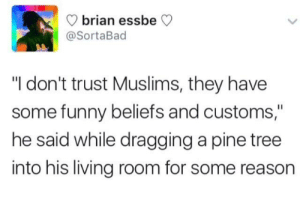 "Strange customs: brian ess  @SortaBad  beCV  ""I don't trust Muslims, they have  some funny beliefs and customs,""  he said while dragging a pine tree  into his living room for some reason Strange customs"