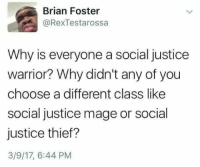 Justice, Persimmon, and Thief: Brian Foster  @RexTestarossa  Why is everyone a social justice  warrior? Why didn't any of you  choose a different class like  social justice mage or social  justice thief?  3/9/17, 6:44 PM