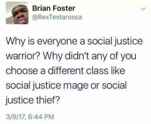 Social Class: Brian Foster  @RexTestarossa  Why is everyone a social justice  warrior? Why didn't any of you  choose a different class like  social justice mage or social  justice thief?  3/9/17, 6:44 PM Social Class