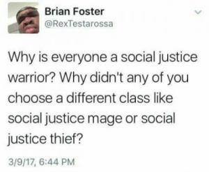 Justice, Thief, and Warrior: Brian Foster  @RexTestarossa  Why is everyone a social justice  warrior? Why didn't any of you  choose a different class like  social justice mage or social  justice thief?  3/9/17, 6:44 PM SJW? I want a social justice mage, tyvm