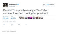 Donald Trump, Run, and Presidents: Brian Gaar  Follow  @briangaar  Donald Trump is basically a YouTube  comment section running for president  RETWEETS LIKES  36,365 40.751  11:11 PM 7 Dec 2015  Source: thebestoftumbl...